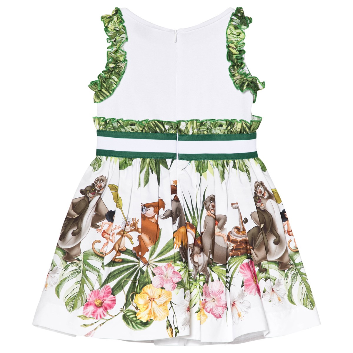 799ae24e5 Monnalisa White and Green Jungle Book Print and Sequin Party Dress |  AlexandAlexa