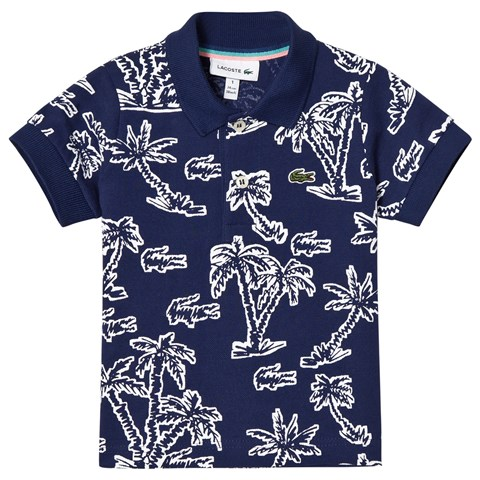 Lacoste Navy Palm Trees Print Ribbed Collar Polo Shirt