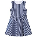 Jeycat Navy and White Stripe Bow Front Dress