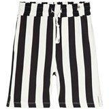 Popupshop Black and Off White Stripe Sweat Shorts