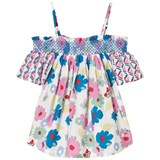 Pepe Jeans Pink And Blue Kasandra Flower Print Off the Shoulder Smock Top