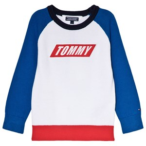 Tommy Hilfiger White Colour Block Branded Sweater 3 years