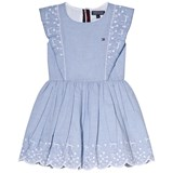 Tommy Hilfiger Blue Charming Embro Ruffle Sleeveless Dress
