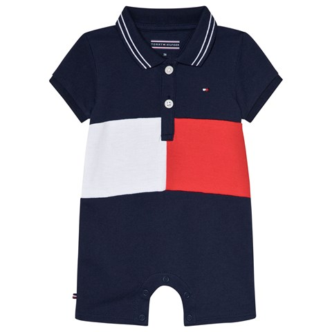 Tommy Hilfiger Navy Branded Quirky Flag Polo Romper