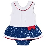 Mayoral White and Blue Spotty Skirt Body with Red Trim and Button Detail