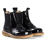 Angulus Black Patent Leather Heart Brogue Boots