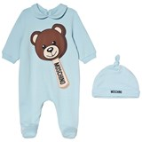 Moschino Pale Blue Bear Ice Cream Print Babygrow and Hat in Gift Box