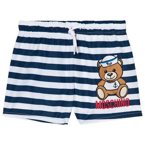 Moschino Navy Stripe Sailor Bear Print Swim Shorts