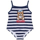 Moschino Navy and White Sailor Bear Print Swimsuit