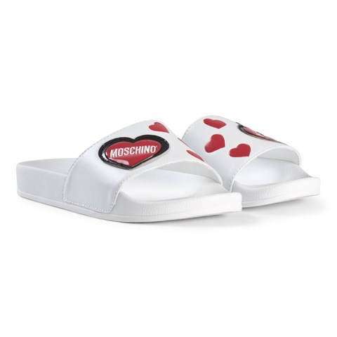 Moschino White Heart Logo Sliders