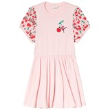 Fendi White and Pink Cherry Monster Print Frill Sleeve Dress