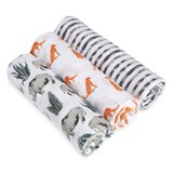 Aden + Anais Pack of 3 Rhino, Leopard and Zebra Print Serengeti Swaddles