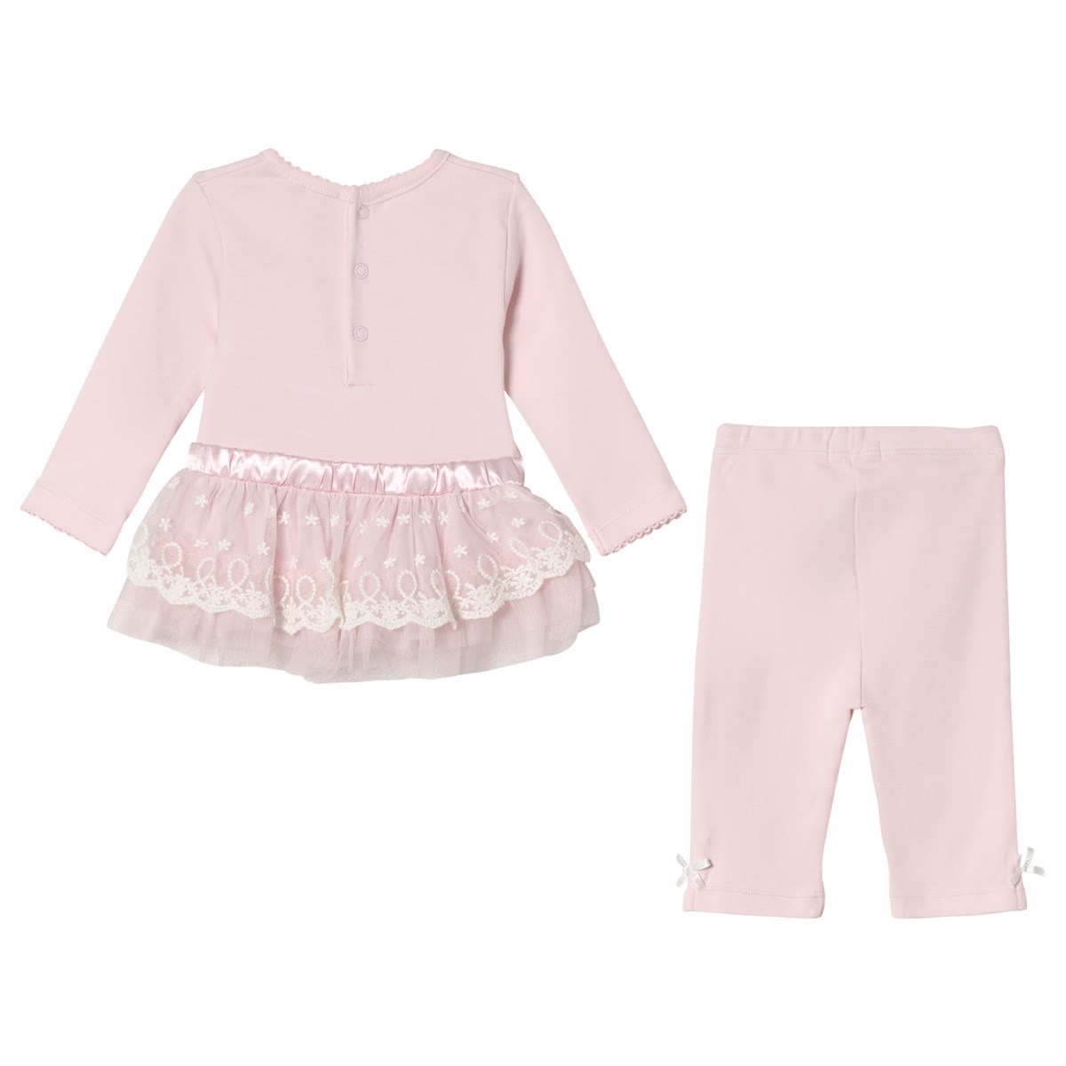 e1bce9f15 Mintini Baby Pink Dress and Leggings with Bow and Frill Detail |  AlexandAlexa