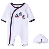 Mintini Baby White Babygrow With Navy and Red Stitching