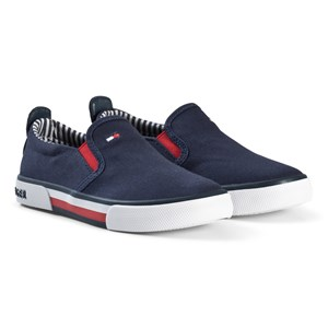 Tommy Hilfiger Navy Branded Slip On Trainers 32 (UK 13)