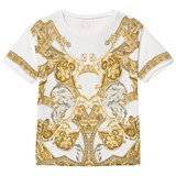 Young Versace White and Gold Baroque Print T-Shirt