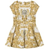 Young Versace White and Gold Baroque Print Dress