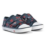 Start-rite Navy Canvas Pumps With Red Star Print