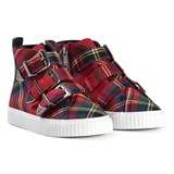 Burberry Red Tartan Buckle and Zip High Top Trainers