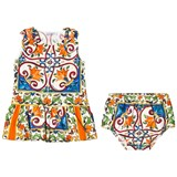Dolce & Gabbana Multicoloured Majolica Print Dress and Bloomers Set