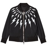 Neil Barrett Black Lightning Bolts Print Bomber Jacket