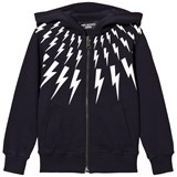 Neil Barrett Navy Lightning Bolts Print Zip Through Hoodie