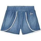 Guess Blue Chambray Shorts with White Pom Pom Trim