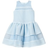 David Charles Blue Mesh and Tulle Layered Skirt Dress