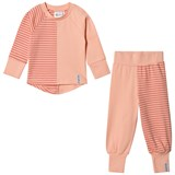 Geggamoja Peach and Soft Red Striped 2-Piece Pyjama Set