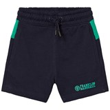 Franklin & Marshall Navy and Green Branded Logo Sweatshorts