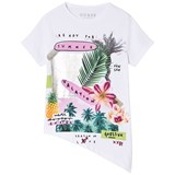 Guess White Tropical Summer Asymmetric Tee