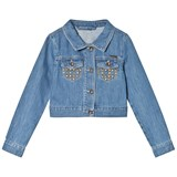 Guess Mid Wash Studded Frill Denim Jacket