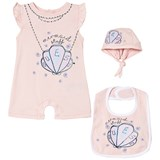 Guess 3 Piece Pink Mermaid Shell Print Romper, Bib and Hat Gift Set