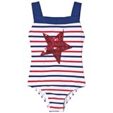 Lands' End White Swimsuit with Red and Navy Stripes and Sequin Star