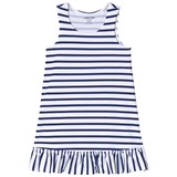 Lands' End White and Blue Striped Swim Dress