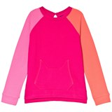 Lands' End Pink Colour Block Long Sleeve French Terry Sweatshirt