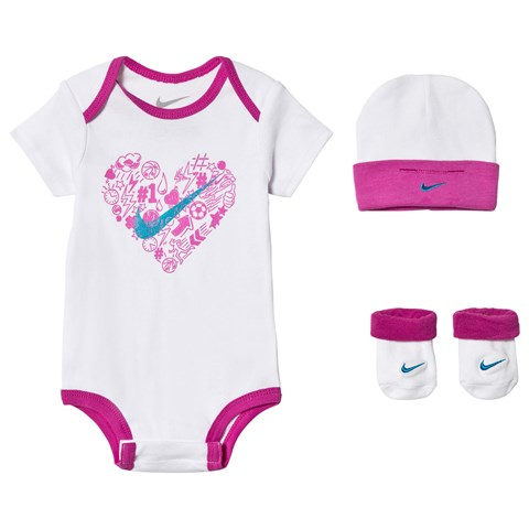 Nike White and Pink Body with Hat and Booties  43e4755e104
