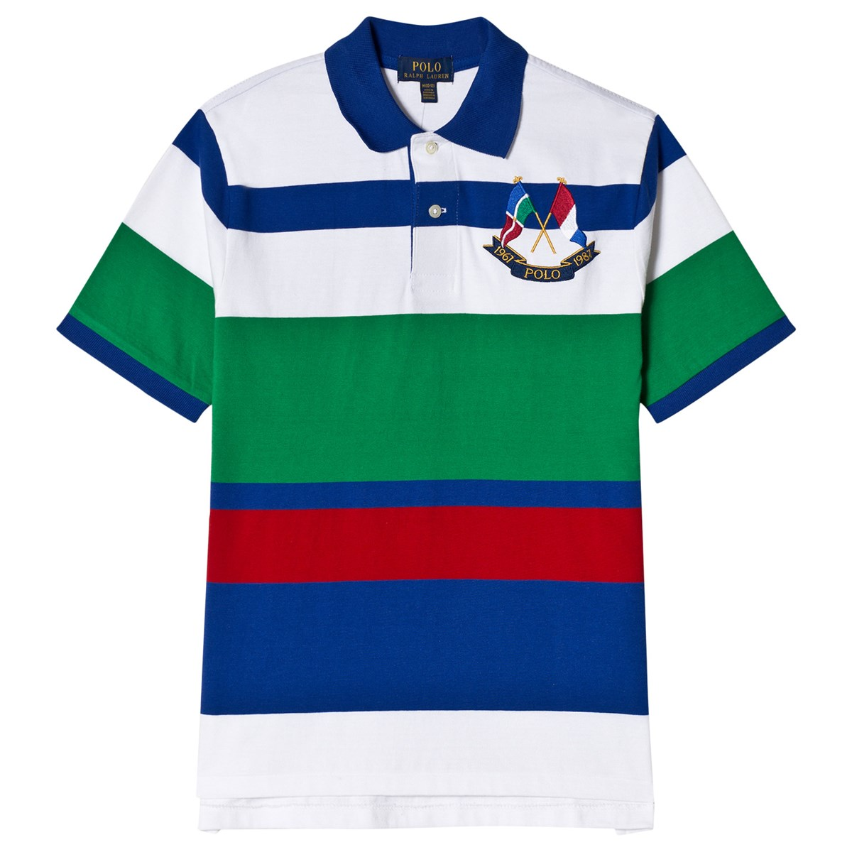 Ralph Lauren Green And White Stripes Crossed Flags Logo Polo Shirt