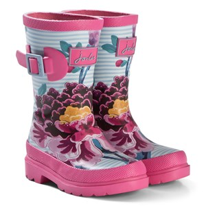 Joules Pink Stripe Floral Wellington Boots 36 (UK 3)
