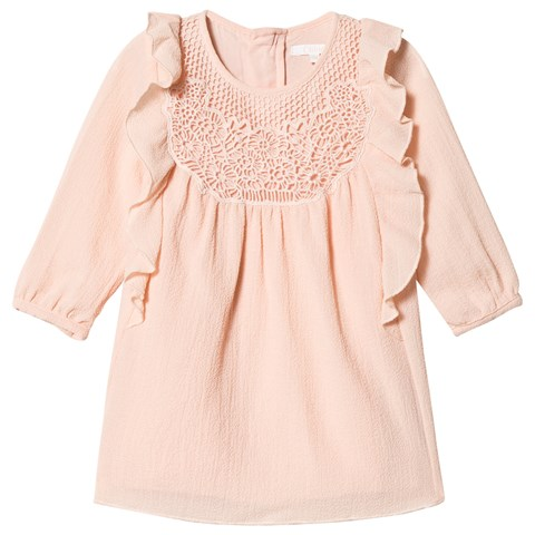 Chloé Pink Crepe Lace Embroidered Frill Dress