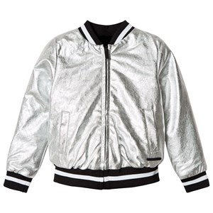 DKNY | DKNY Silver Reversible Into Black Faux Fur Pleather Bomber 4 Years | Goxip