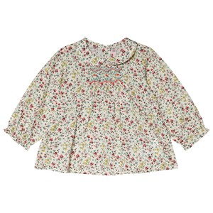 BONPOINT | Bonpoint Bonpoint Cream Red And Green Floral Print Smocked Blouse 6 months | Goxip