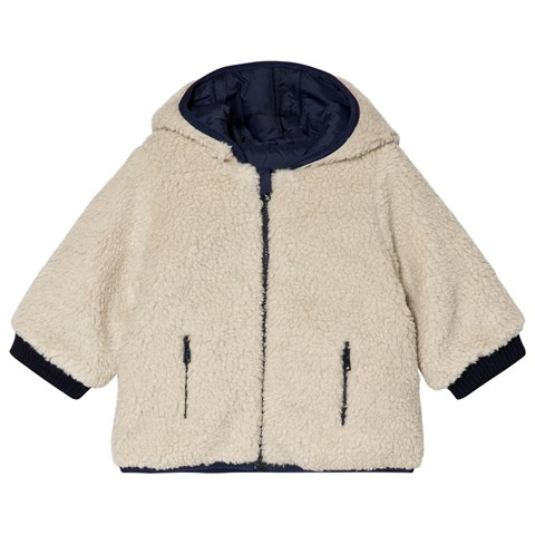 Bonpoint Navy Reversible into Cream Teddy Jacket
