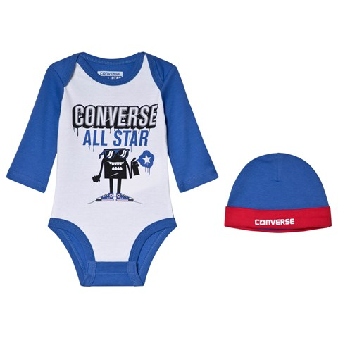 423d7c1a034 Converse White   Blue Branded Character Graphic Body   Hat Set ...