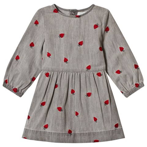 Stella McCartney Kids Grey Baby Dress with Embroidered Ladybirds