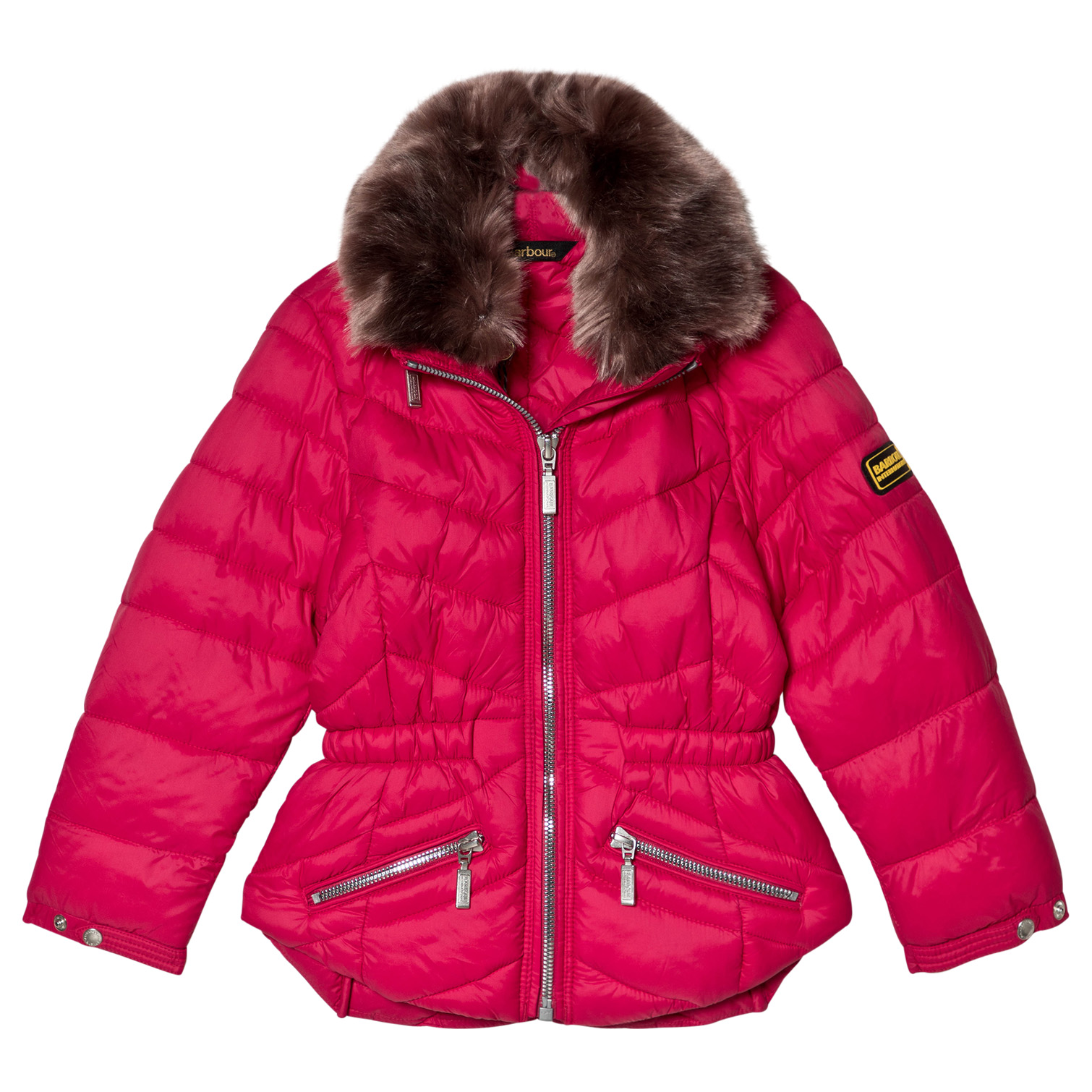 5e20f9160 Barbour Pink Valencia Padded Faux Fur Collared Coat