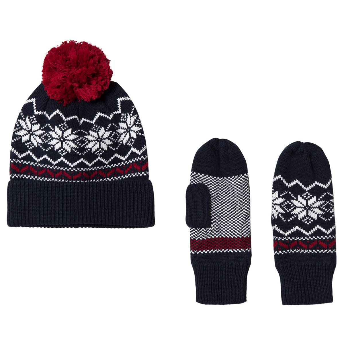 Kuling Navy And Red Holmenkollen Trend Beanie And Mittens