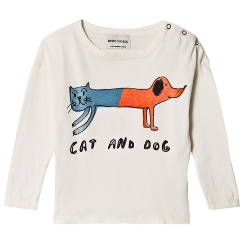 Bobo Choses White Egret Cat And Dog Round Neck T-Shirt