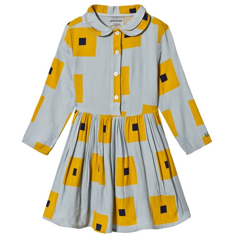 Bobo Choses Grey And Yellow High-Rise Squares Princess Dress