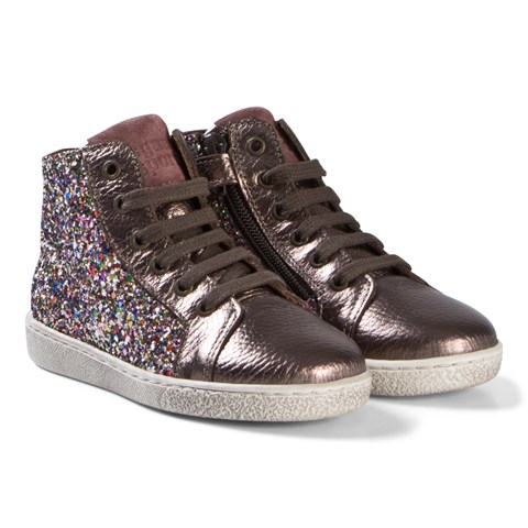 Bisgaard Pink Multi Glitter Shoe with Laces
